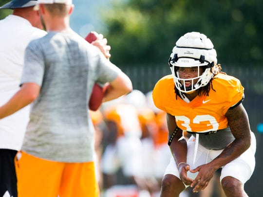 Tennessee running back/linebacker Jeremy Banks (33) during football practice on the University of Tennessee's campus on Tuesday, Sept. 10, 2019.
