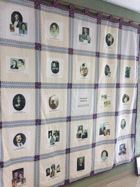 A quilt honoring deceased loved ones is on display at Powell Presbyterian.