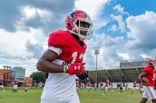 Comeaux High receiver Malik Nabers practices with the Spartans Tuesday. Nabers, considered an elite receiving prospect, has received 10 football scholarship offers.