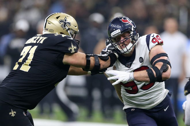 Sep 9, 2019; New Orleans, LA, USA; Houston Texans defensive end J.J. Watt (99) is blocked by New Orleans Saints offensive tackle Ryan Ramczyk (71) in the second quarter at the Mercedes-Benz Superdome. Mandatory Credit: Chuck Cook-USA TODAY Sports