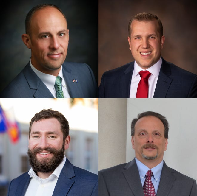 (Clockwise from top left) Jeremy Hidalgo, Josh Carlson, Jon Liprie and Mike Davis are all running to represent District 3 on Lafayette's new parish council in this fall's election.