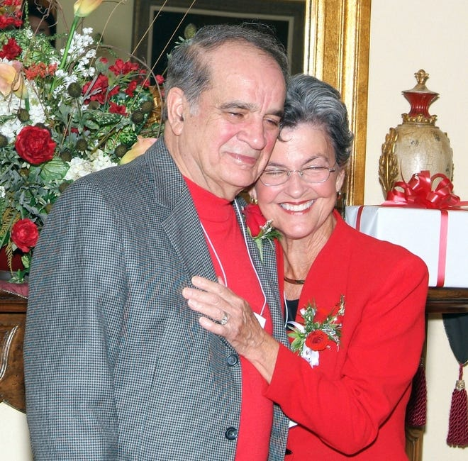 Ray Authement and his wife Barbara Authement are joyful after recieving their awards on Fri. October 19, at the UL Alumni Center.
