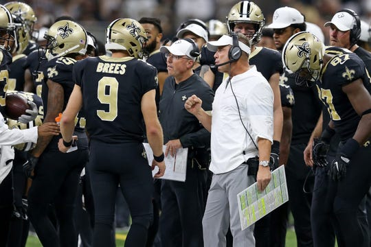 Sep 9, 2019; New Orleans, LA, USA; New Orleans Saints head coach Sean Payton talks to quarterback Drew Brees (9) on the sidelines in the second half against the Houston Texans at the Mercedes-Benz Superdome. Mandatory Credit: Chuck Cook-USA TODAY Sports