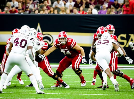 UL sophomore Max Mitchell (74) is playing two roles for the Cajuns at left tackle and left guard after Ken Marks went down with a knee injury that required season-ending ACL surgery.
