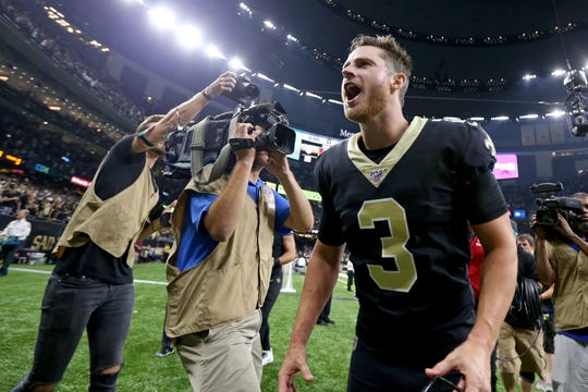 Sep 9, 2019; New Orleans, LA, USA; New Orleans Saints kicker Wil Lutz (3) screams as he runs from the field after kicking a game wining field goal against the Houston Texans at the Mercedes-Benz Superdome. Mandatory Credit: Chuck Cook-USA TODAY Sports