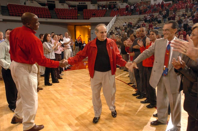 Louisiana Lafayette's president Dr. Ray Authement received an award from the athletic department Thursday Jan. 31, 2008 during the Ul Middle Tennessee basketball game at the Cajundome in Lafayette, La.