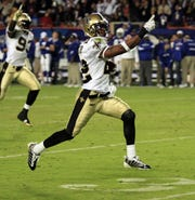 New Orleans Saints Tracy Porter returns an interception to seal the victory against the Colts in the Super Bowl.