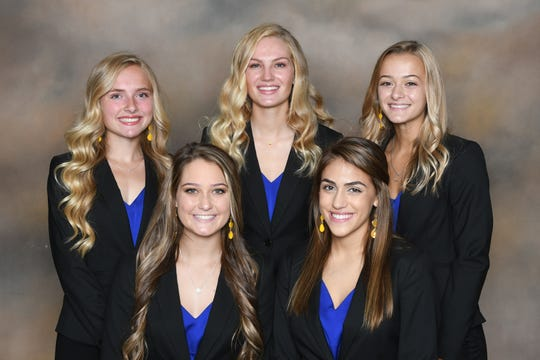 From left, front, areMaria Caporini and Alexa Frankhouse; and back,Grace Maurer,Grace Miller andMyla Creed.