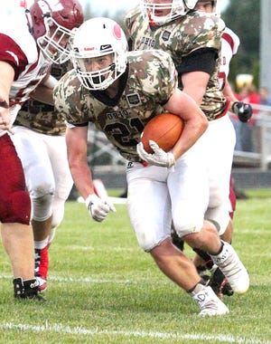 Plymouth running back Josh Stevens finished with 12 carries for 179 yards and five touchdowns in the Big Red's win over Monroeville improving them to 6-2 on the year giving them their first winning season since 2014.