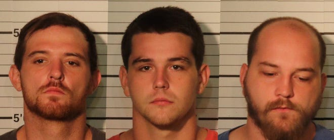 Christofer Elder (left), Michael Matheny (middle), and Joshua Matheny were arrested on Sept. 2 for an alleged racist attack on a black male.
