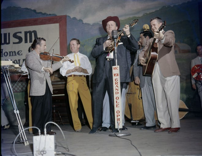 "Bill Monroe performing on ""The Grand Ole Opry"" in Nashville, circa 1958, in Ken Burns' ""Country Music"" series."