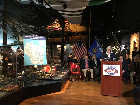 Wisconsin Secretary-designee of Veterans Affairs Mary Kolar speaks Tuesday at a news conference at the Wisconsin Veterans Museum announcing legislation to fund the search for Wisconsin MIAs.