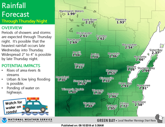 Heavy rain is forecast this week across much of Wisconsin, including central and northeastern parts of the state.
