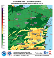 Heavy rain fell across a large portion of Wisconsin between 7 p.m. on Monday and noon Tuesday.