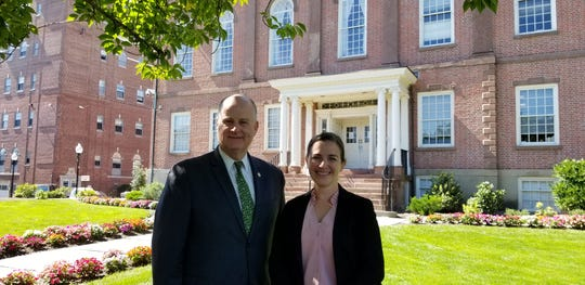 Morris County Sheriff James Gannon with his newly promoted Chief Morris County Sheriff's Officer Kelley Zienowicz, on the front lawn of the historic Morris County Courthouse.