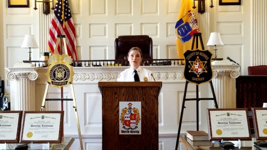Morris County Sheriff's Office Chief Kelley Zienowicz during remarks at her promotion ceremony.