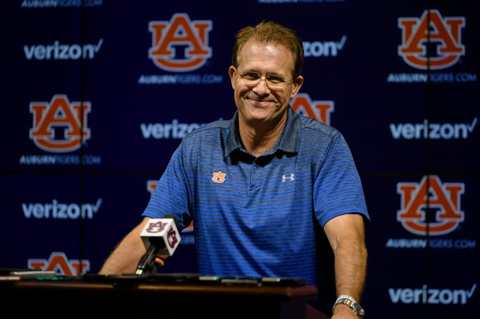 Auburn coach Gus Malzahn smiles during a press conference previewing a game against Kent State on on Tuesday, Sept. 10, 2019 in Auburn, Ala.