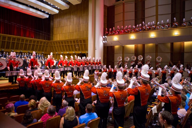 """Ball State's """"Pride of Mid-America"""" Marching Band will be one of the ensembles performing in the  School of Music Showcase at 7:30 p.m. Friday, Sept. 13 in Sursa Performance Hall."""