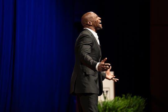 Terry Crews speaks at Vanderbilt University's Chancellor's Lecture in Langford Auditorium on September 9, 2019.