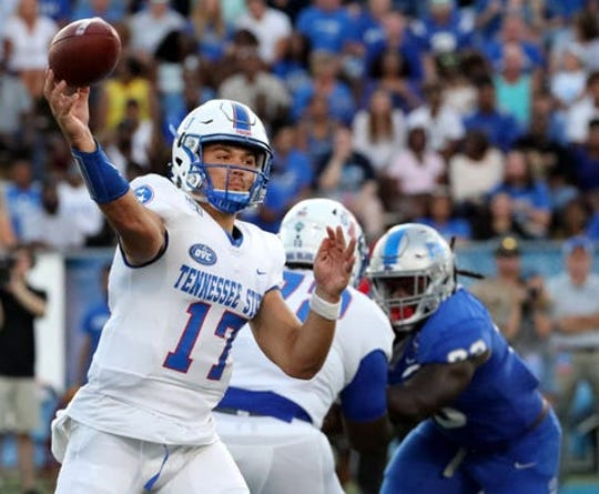 Tennessee State quarterback Cameron Rosendahl was injured in last week's game at MTSU but had to return in the fourth quarter after his replacement, Micheal Hughes, also was injured.