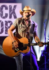 Jason Aldean performs in Nashville, Tennessee on Sept. 9.