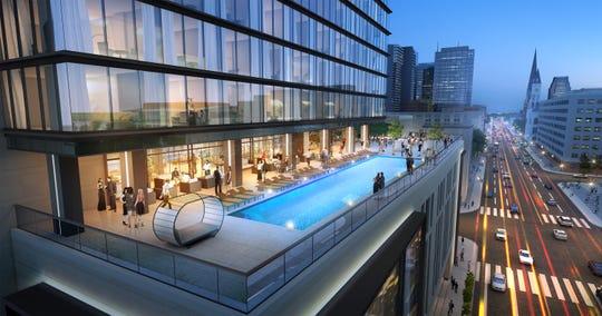 A rendering of Grand Hyatt Nashville's pool deck.
