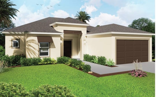 The Mariposa, a three-bedroom plus study plan, is one of the popular designs available at Arrowhead Reserve in Immokalee.