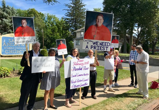 Parishoners of Saint Andrew Church in Westwood demanded a parish priest at a protest last Sunday in front of the church.