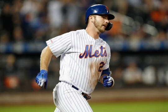 New York Mets' Pete Alonso runs on his fifth-inning solo home run during a baseball game against the Arizona Diamondbacks, Monday, Sept. 9, 2019, in New York. (AP Photo/Kathy Willens)