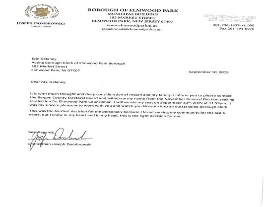 Elmwood Park Joseph Dombrowski's resignation letter.