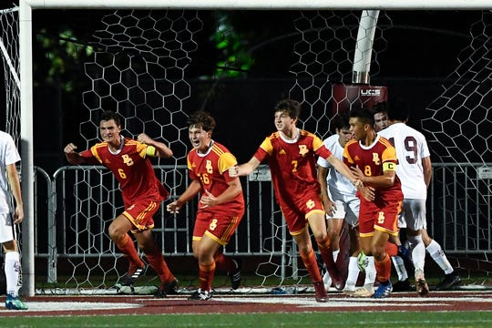 Bergen Catholic's Chris Barile, far left, and teammates celebrate his goal against Don Bosco on Monday, Sept. 9, 2019, in Ramsey.