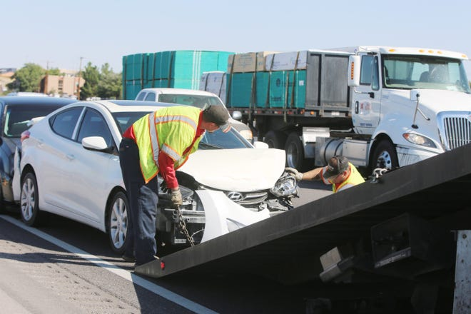 A multi-vehicle crash slowed traffic on I-25 Tuesday Sept. 10, 2019. No one was seriously injured in the accident, but one motorist reported burns on her arms as a result of her vehicle's air bag deployment.