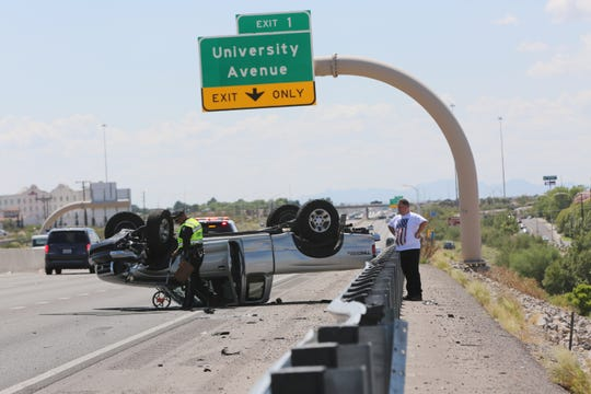 New Mexico State Police investigating a roll over crash on I-25 South, Tuesday Sept. 10, 2019. One person was transported to the hospital with unknown injuries as a result of the crash.