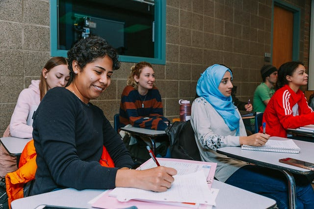 Students in class at Oakland Community College.