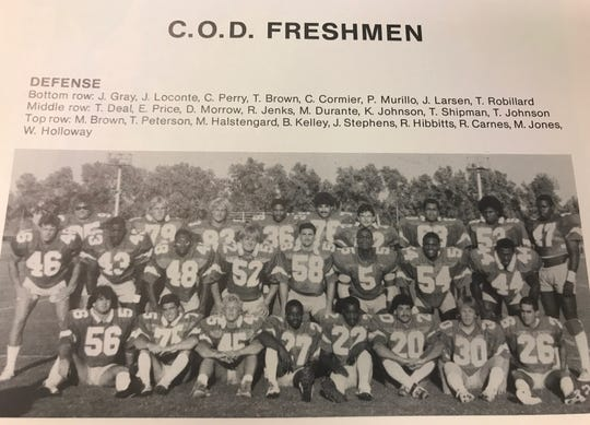 Freshman on the College of the Desert football team in 1985. James Gray can be seen wearing No. 56 at bottom left.