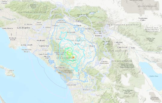 Map shows how far the quake could be felt.