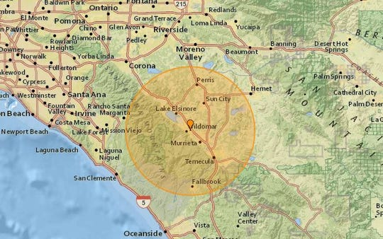 Map shows where a 3.9-magnitude earthquake struck Tuesday afternoon.