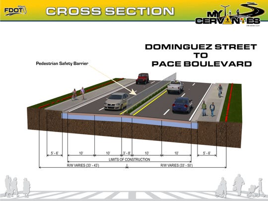 The Florida Department of Transportation's proposal for pedestrian safety improvements on West Cervantes Street.