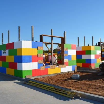 Here's the Lego-like house frame built in a day by Castle Rock Custom Homes. Visit their YouTube video and by clicking ``, you will help them help Arizona Special Olympics.