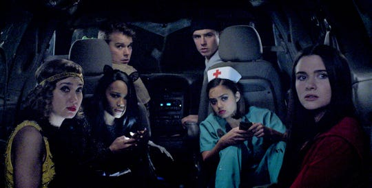 """We suspect something bad is about to happen to the college students in """"Haunt"""" played by Schuyler Helford (from left), Lauryn Alisa McClain, Andrew Caldwell, Will Brittain,  Shazi Raja and Katie Stevens star in the horror film """"Haunt."""""""