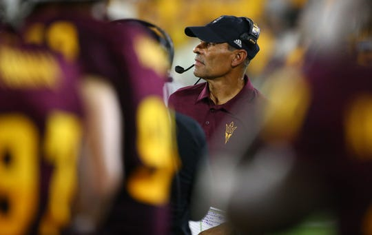 Arizona State Sun Devils head coach Herm Edwards against Sacramento State in the first half during a game at Sun Devil Stadium on Sep. 6, 2019 in Tempe, Ariz.