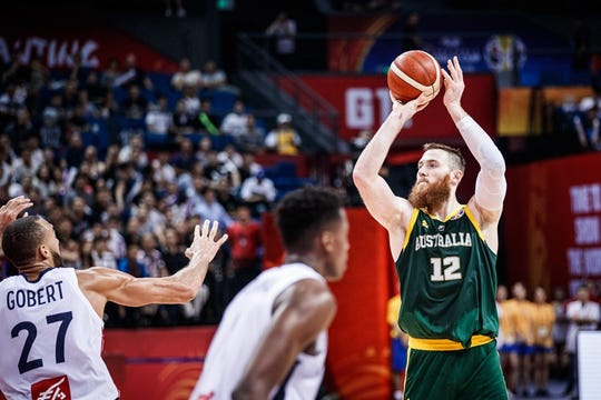 Defended here by two-time NBA defensive player of the year Rudy Gobert, Aron Baynes made 5-of-6 from 3 in helping Australia beat France in the second round of the 2018 FIBA World Cup in China.