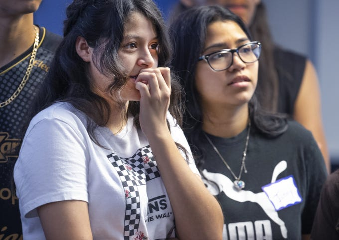 High school students listen to Jessica Solis at the college prep boot camp held at Phoenix College, Thursday, July 18, 2019.