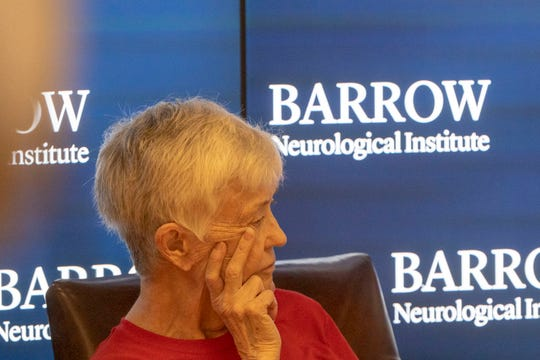 "Patient Elizabeth ""Ann"" Alderson, 80,  who participated in the deep brain stimulation study, attends a press conference on this groundbreaking procedure at Dignity Health St. Joseph's Hospital & Medical Center in Phoenix on Sept. 10, 2019."