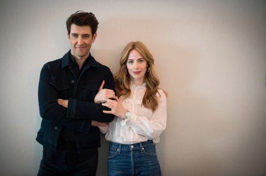 "Israeli director Guy Nattiv, left, and his wife, U.S. actress Jaime Ray Newman, pose during a photo session on September 8, 2019 in Deauville, France, on the sidelines of the 45th Deauville American Film Festival, where they presented their movie, ""Skin."""