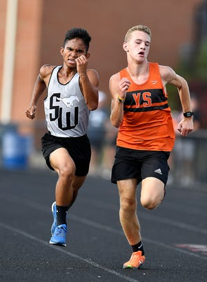 Grant Kern, right of York Suburan, out sprints Shemel Singh of South Western to the finish line at York Suburban High School, Tuesday, September 10, 2019.John A. Pavoncello photo