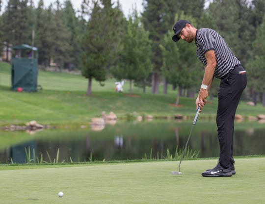 Patrick Rodgers putts during the Barracuda Championship PGA golf tournament at Montrêux Golf and Country Club in Reno on July 26, 2019.