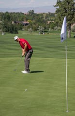 Tom Hoge putts on the 2nd green during the Barracuda Championship PGA golf tournament at Montrêux Golf and Country Club in Reno last July