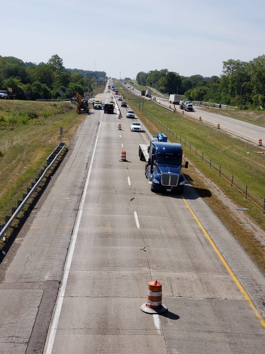 I-70 traffic near the Centerville exit travels in one lane as construction occupies the other lane on Tuesday, Sept. 10, 2019.