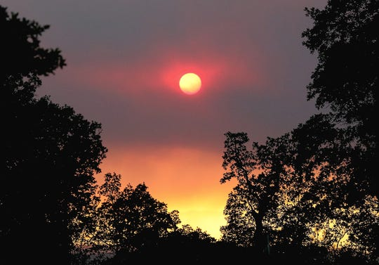 Smoke from the Red Bank Fire that burned west of Red Bluff in September creates a dramatic sunset.